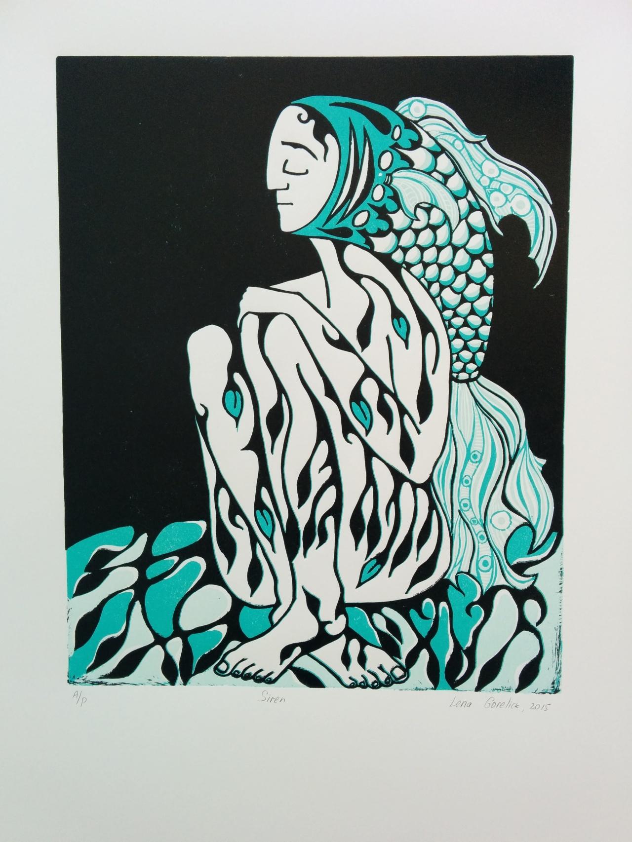 Siren – three color reduction reliefprint